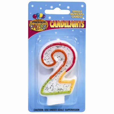 2ND BIRTHDAY PARTY CANDLE MULTI COLOURED GLITTERED