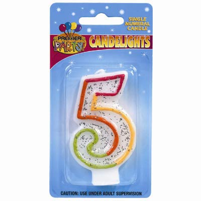 5TH BIRTHDAY PARTY CANDLE MULTI COLOURED GLITTERED