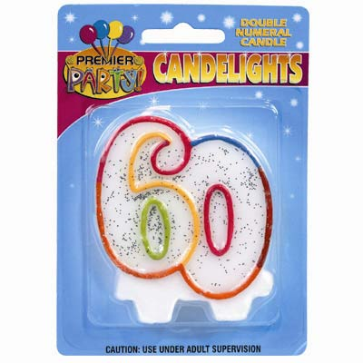 60TH BIRTHDAY CANDLE MULTI GLITTER