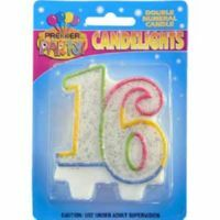 16TH BIRTHDAY GLITTERED MULTI COLOUR CANDLE