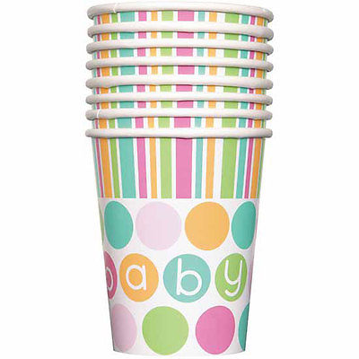BABY PASTEL SHOWER UNISEX CUPS - PACK OF 8