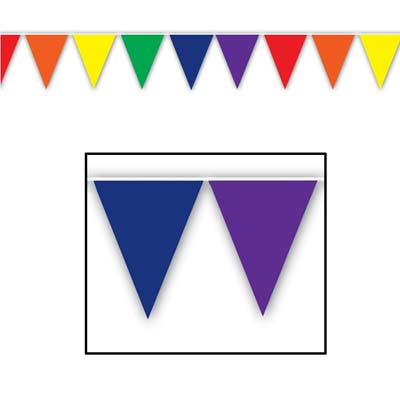 MULTI COLOURED PENNANT BANNER - 3.65M