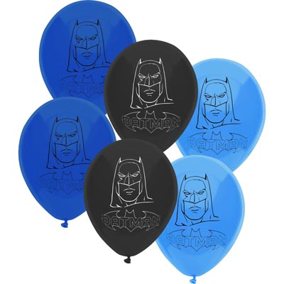 BALLOONS LATEX - BATMAN BLUE & BLACK PACK OF 6