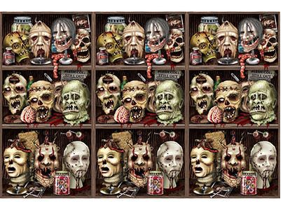 INSTA THEME - SCARY ZOMBIE HEADS BOOKSHELF BACK DROP