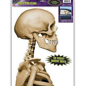 HALLOWEEN BACK SEAT DRIVER SKELETON CLING