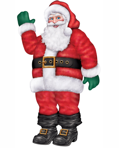 LIFESIZE SANTA JOINTED CUTOUT 180CM TALL