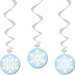 HANGING SNOWFLAKE CUT OUT SWIRLS DECORATIONS PACK OF 3