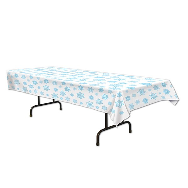 DISPOSABLE TABLECOVER - WHITE WITH BLUE SNOWFLAKES
