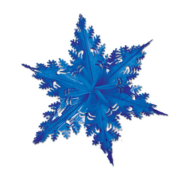 SNOWFLAKE WINTER HUGE 61CM FOIL 3D DECORATION - BLUE