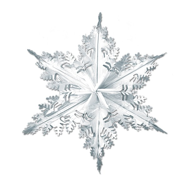 SNOWFLAKE WINTER HUGE 61CM FOIL 3D DECORATION - SILVER