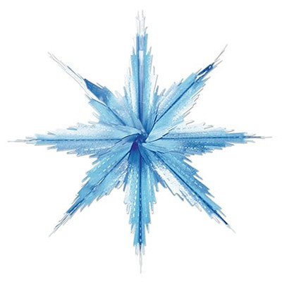 SNOWFLAKE WINTER 29CM 3D DECORATION - BLUE & SILVER PACK OF 2