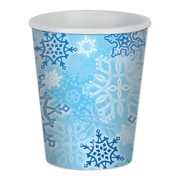 SHIMMERING SNOWFLAKES CUPS - PACK OF 8