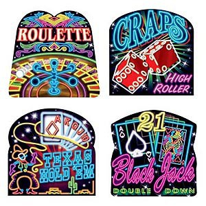 CASINO NEON SIGNS - PACK OF 4