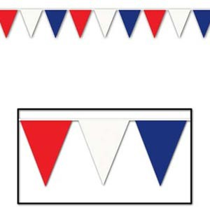 PATRIOTIC RED, WHITE & BLUE HUGE PENNANT BANNER - 36M