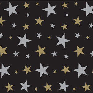 SCENE SETTER - GOLD & SILVER WALL STARS ROOM ROLL