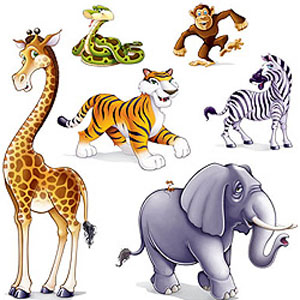 JUNGLE ANIMAL PARTY PROP CUT OUTS PK 6