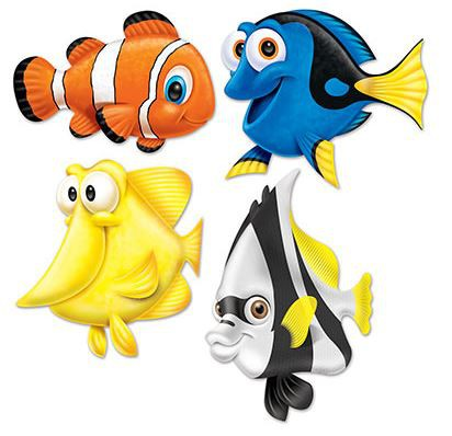 UNDER THE SEA MOVIE FISH CUT OUTS - PACK OF 4