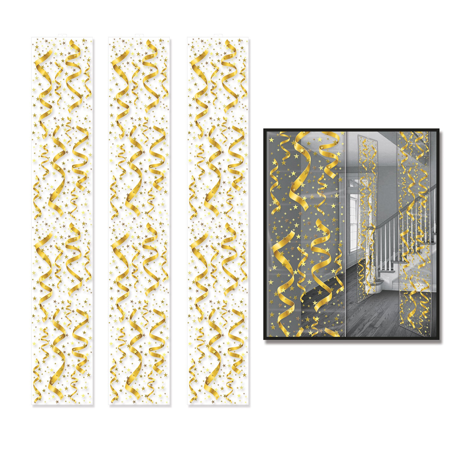 GOLD PARTY PANELS DECORATION STREAMERS & STARS - PACK OF 3