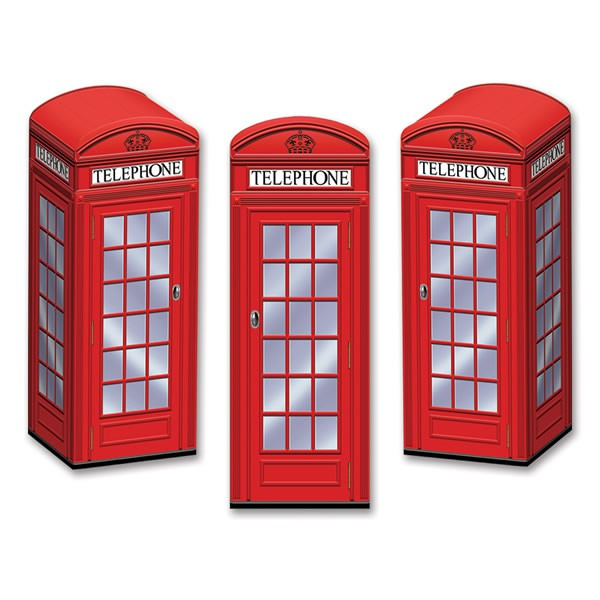 BRITISH TELEPHONE BOX PARTY FAVOUR BOXES - PACK OF 3