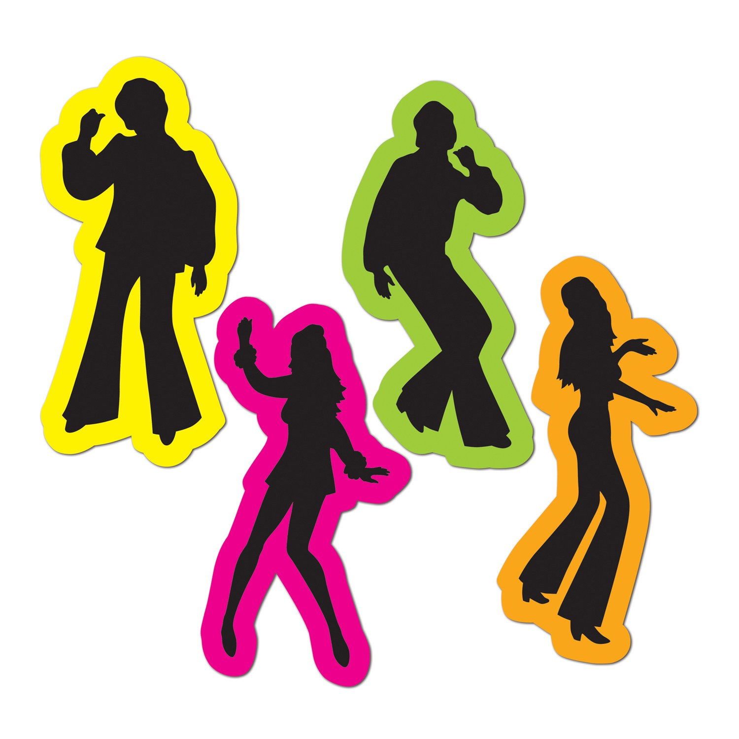 1970'S DISCO DANCING RETRO FIGURE SILHOUETTE CUT OUTS - PK OF 4