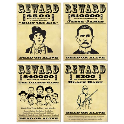 WILD WEST WANTED 'REWARD' CUT OUT SIGNS - PACK OF 4