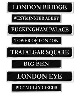 BRITISH STREET SIGNS - PACK OF 4