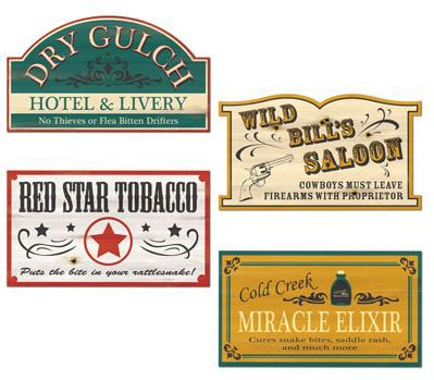 WESTERN OLD STYLE SIGNS - PACK OF 4