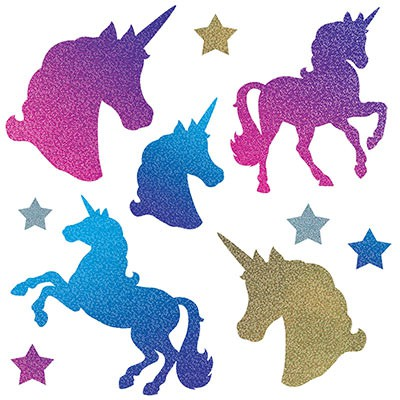 UNICORN HOLOGRAPHIC CUT OUTS - PACK OF 10