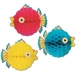 HANGING HONEYCOMB BUBBLE FISH - LARGE