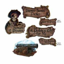PIRATE CUTOUTS - PACK OF 4 BEWARE OF PIRATES