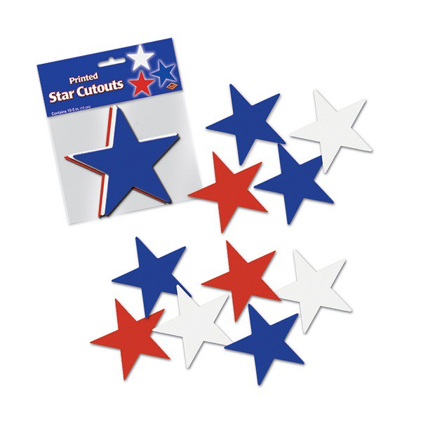 PATRIOTIC RED, WHITE & BLUE STAR CUTOUTS PACK OF 10