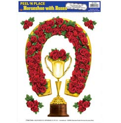 STICKERS PEEL & PLACE HORSESHOE & CUP WITH ROSES