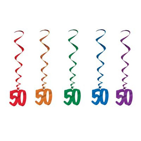 50TH BIRTHDAY SWIRL DECORATIONS MULTI COLOURED PACK OF 5