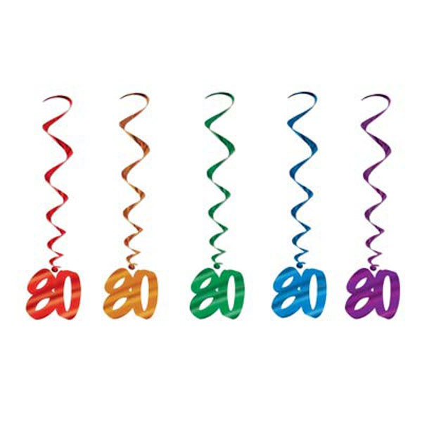 80TH BIRTHDAY HANGING SWIRLS MULTI COLOURED - PACK 5