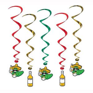 MEXICAN FIESTA HANGING WHIRLS PK OF 5