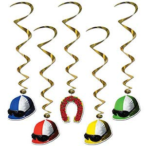 DERBY DAY JOCKEY HELMET WHIRLS - PK OF 5
