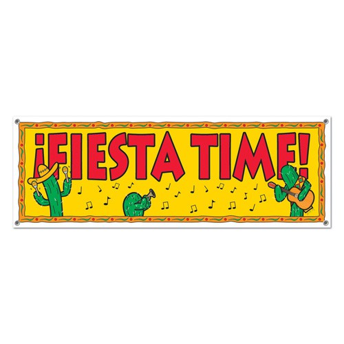 MEXICAN FIESTA TIME GIANT BANNER WITH CACTI