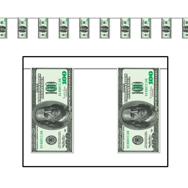 AMERICAN ONE HUNDRED DOLLAR BILL PENNANT BANNER - 3.7M