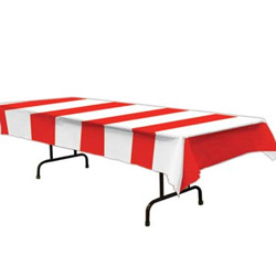 AMERICAN STRIPES RED AND WHITE TABLECOVER