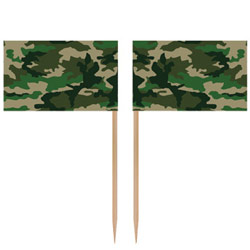CAMO FLAG PARTY PICKS PACK OF 50
