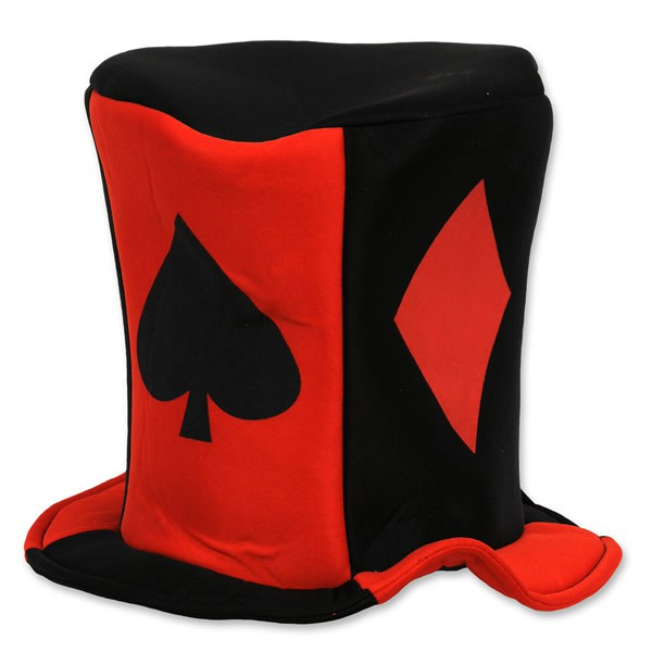 CASINO CARD SUIT FABRIC TOP HAT