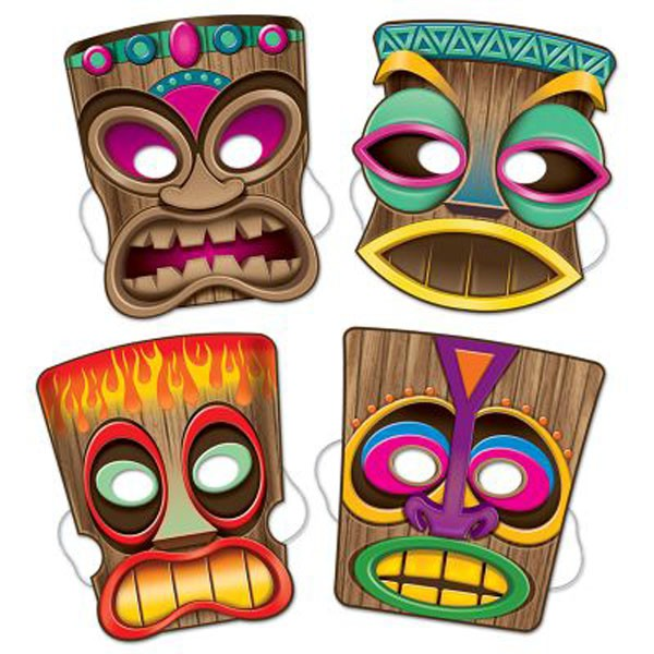 TIKI MASKS IN 4 ASSORTED DESIGNS