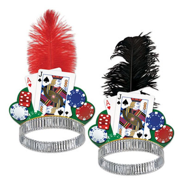 CASINO NIGHT TIARA WITH FEATHER