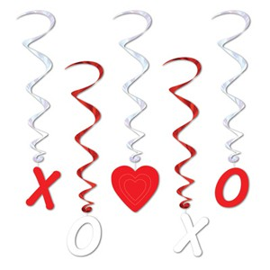VALENTINES DAY HANGING LOVE WHIRLS - PACK OF 5