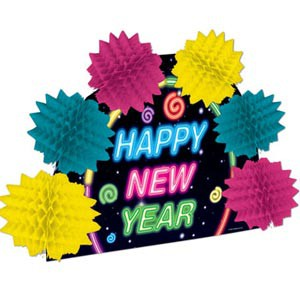 NEW YEAR NEON HONEYCOMB CENTREPIECE