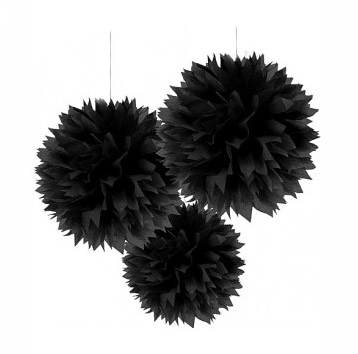 POM POM FLUFFY TISSUE DECORATION - BLACK IN A PACK OF 3