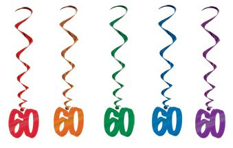 60TH BIRTHDAY PARTY SWIRLS MULTI COLOURED - PACK 5