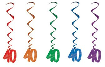 40TH BIRTHDAY PARTY SWIRLS MULTI COLOURED - PACK 5