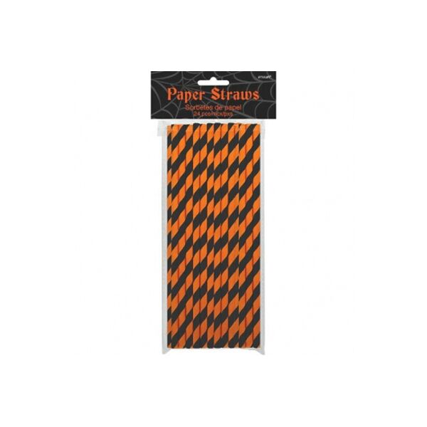 straws Halloween black and orange striped