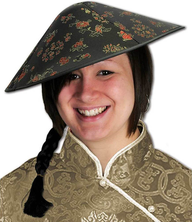 CHINESE COOLIE ORIENTAL HAT WITH PIGTAIL